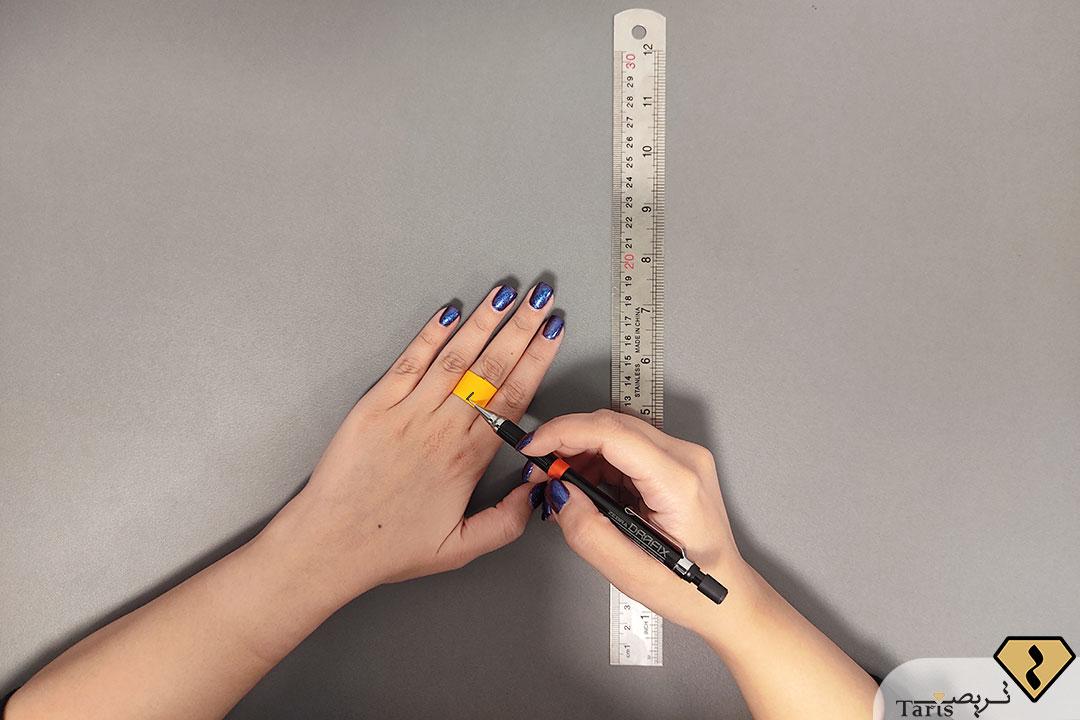 مرحله سوم پیدا کردن سایز انگشتر