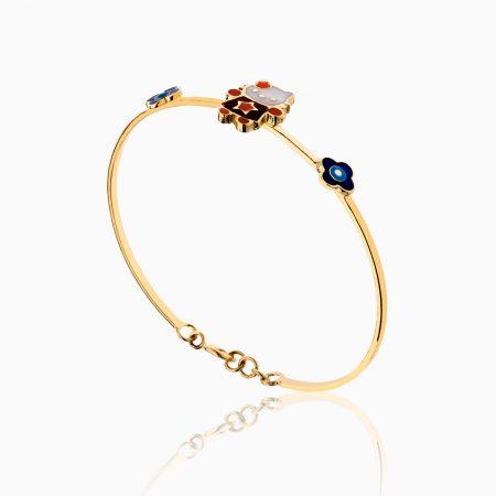 دستبند طلا 18 عیار بچهگانه BL0058