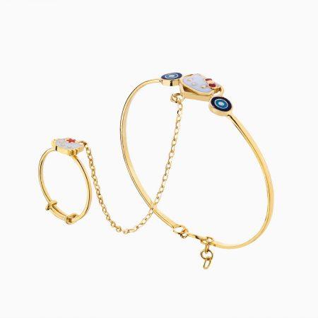 دستبند طلا 18 عیار بچهگانه BL0059