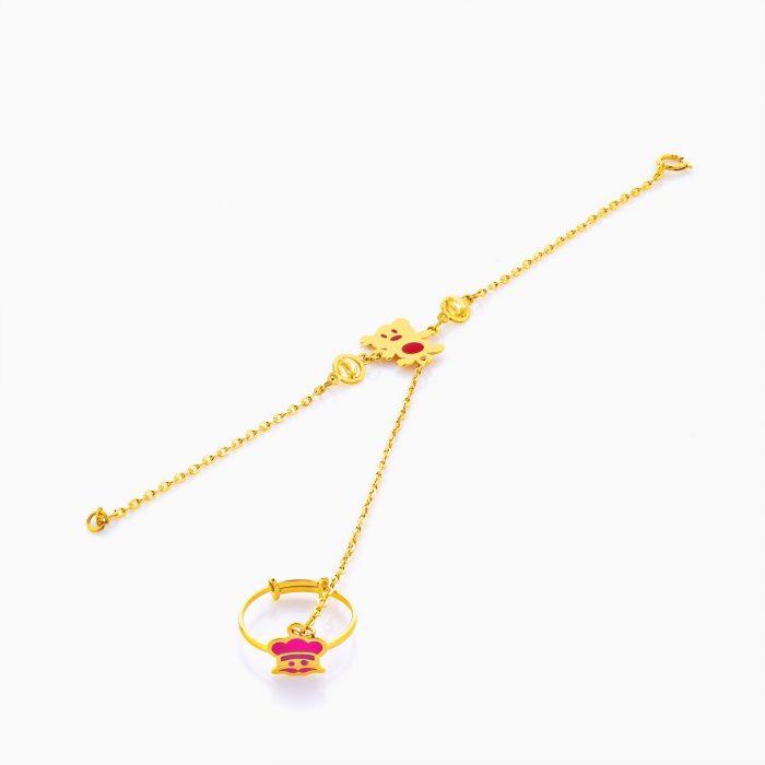 دستبند تمیمه طلا 18 عیار بچهگانه BL0061