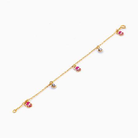 دستبند تميمه طلا 18 عيار بچهگانه BL0065