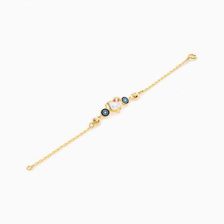 دستبند طلا 18 عیار بچه گانه مدل کیتی کد BL0067