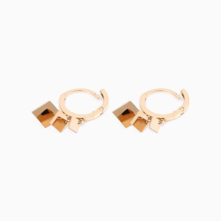 گوشواره طلا 18 عیار دخترانه اسپورت مدل حلقه ای آویز لوزی کد ER0010