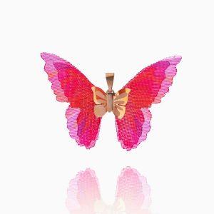 مدال طلا 18 عیار زنانه فانتزی مدل پروانه بال رنگی کد PD0038