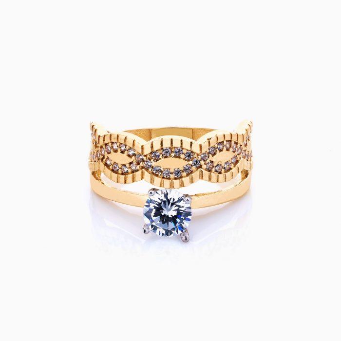 انگشتر طلا 18 عیار زنانه نگین دار اتمی مدل سولیتر طرح حلقه و پشت حلقه کد RG0068