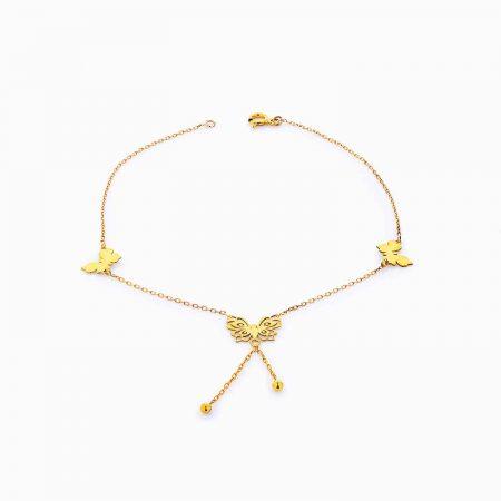 پابند طلا 18 عیار دخترانه مدل پروانه کد AL0006
