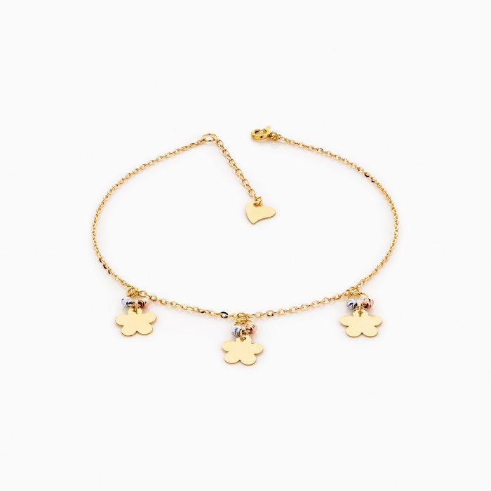 پابند طلا 18 عیار زنانه زنجیری مدل شبدر کد AL0011