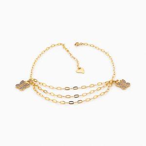 پابند طلا 18 عیار زنانه زنجیری نگین دار اتمی مدل پروانه و زنجیر سه رج کد AL0018