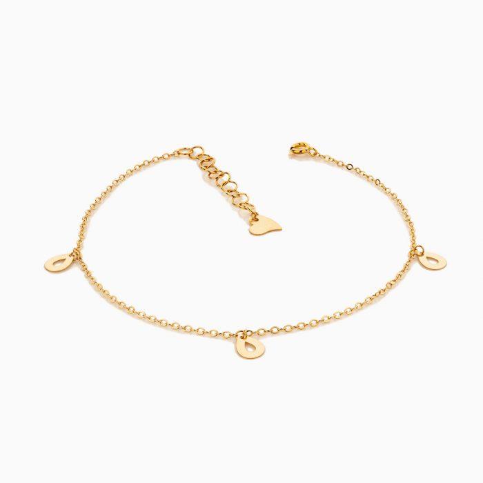 پابند طلا 18 عیار زنانه زنجیری مدل آویز پولک طرح دار کد AL0068