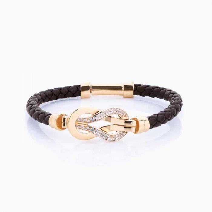 دستبند طلا 18 عیار زنانه اسپورت چرمی با سنگ اتمی مدل فرد دونعل کد BL0014