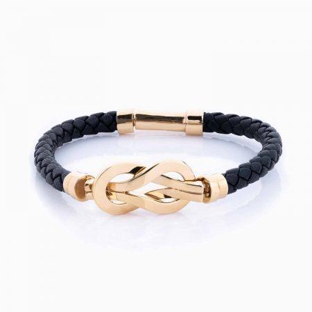 دستبند طلا 18 عیار زنانه اسپورت چرمی مدل فرد دو نعل کد BL0015