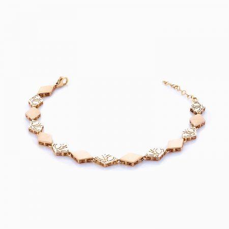دستبند طلا 18 عیار زنانه اسپورت مدل فانتزی طرح لوزی کد BL0036