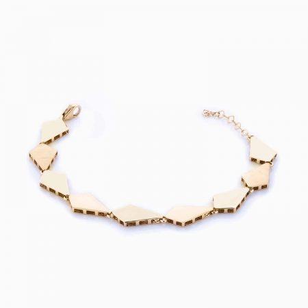 دستبند طلا 18 عیار زنانه اسپورت مدل فانتزی طرح لوزی کد BL0037