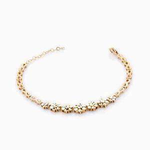 دستبند طلا 18 عیار زنانه مدل کلاسیک گلدار کد BL0038