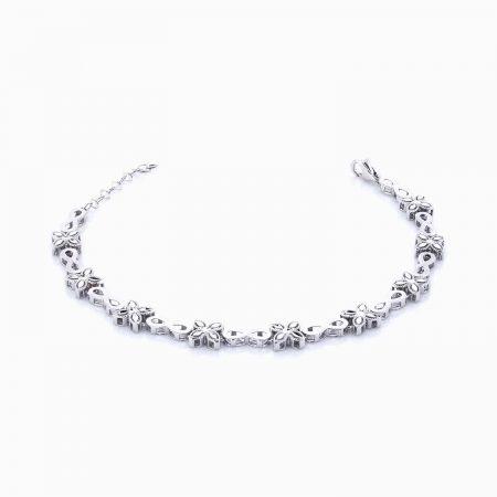 دستبند طلا 18 عیار زنانه اسپورت مدل فانتزی گلدار کد BL0040