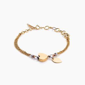 دستبند طلا 18 عیار دخترانه زنجیری مدل بولگاری قلب کد BL0057