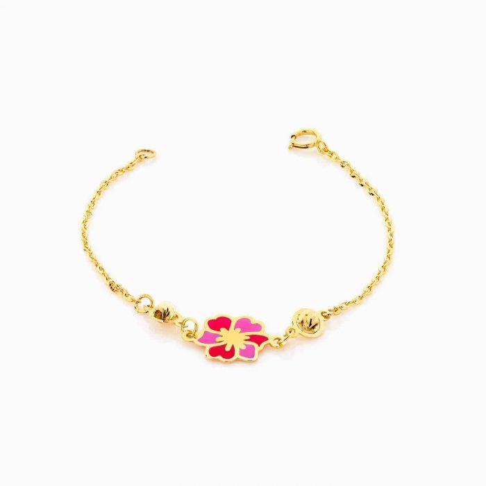 دستبند طلا 18 عیار بچه گانه زنجیری مدل گوی و گل کد BL0073
