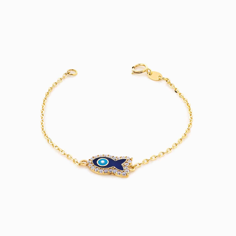 دستبند طلا 18 عیار بچه گانه زنجیری مدل چشم نظر طرح ماهی کد BL0074