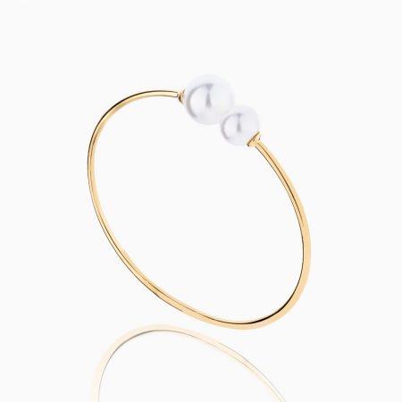 دستبند طلا 18 عیار زنانه مدل مروارید کد BL0077