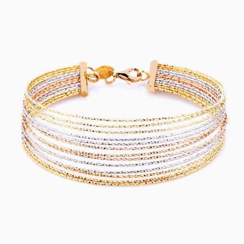 دستبند طلا 18 عیار زنانه مدل ریسه ای چند رج کد BL0081