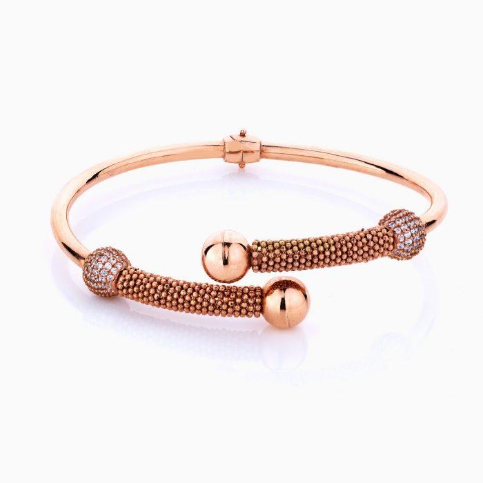 دستبند طلا 18 عیار زنانه مدل بنگل نگین دار کد BL0082
