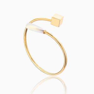 دستبند طلا 18 عیار زنانه با نگین مروارید مدل اسپرینگ کد BL0087