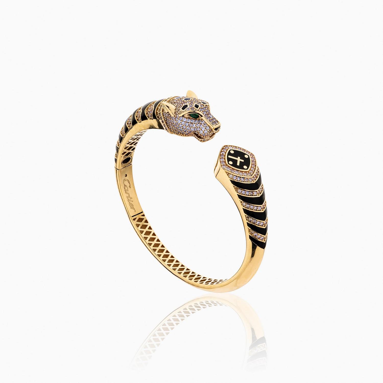 دستبند طلا 18 عیار زنانه اسپورت مدل کارتیر پلنگ کد BL0096