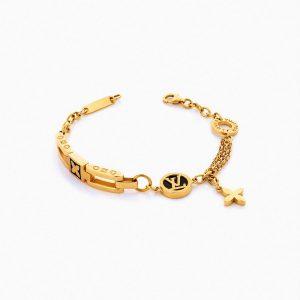 دستبند طلا 18 عیار زنانه فانتزی مدل لویی ویتون کد BL0098