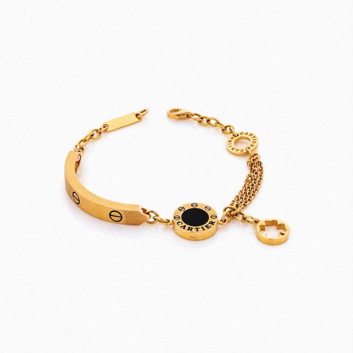 دستبند طلا 18 عیار زنانه فانتزی مدل کارتیر زنجیری کد BL0099