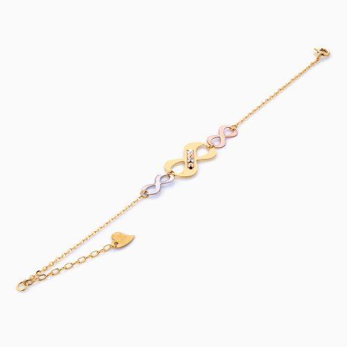 دستبند طلا 18 عیار زنانه فانتزی مدل بینهایت کد BL0102
