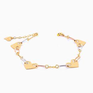 دستبند طلا 18 عیار زنانه زنجیری مدل قلبی سفید ، زرد و رزگلد کد BL0103