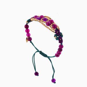 دستبند طلا 18 عیار دخترانه اسپورت با سنگ مرمر مدل گل و گوی کد BL0112
