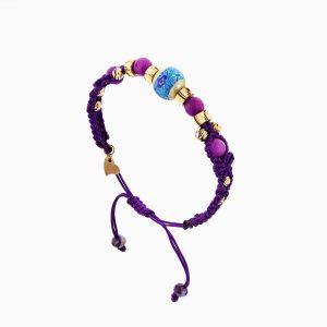 دستبند طلا 18 عیار دخترانه اسپورت با سنگ مرمر مدل گوی نقاشی کد BL0113