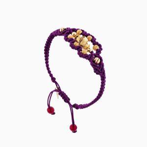 دستبند طلا 18 عیار دخترانه مدل بافت بنفش کد BL0114