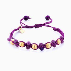 دستبند طلا 18 عیار دخترانه اسپورت با سنگ مرمر مدل گوی مات کد BL0116