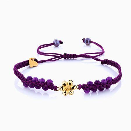 دستبند طلا 18 عیار دخترانه اسپورت با سنگ مرمر مدل گل کد BL0118