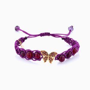 دستبند طلا 18 عیار دخترانه فانتزی با سنگ مرمر مدل پروانه کد BL0119