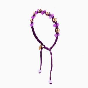 دستبند طلا 18 عیار دخترانه با سنگ مرمر مدل آلبرنادو تک رج کد BL0120