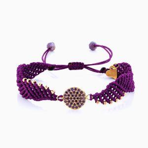 دستبند طلا 18 عیار دخترانه اسپورت با سنگ اتمی مدل پلاک گرد کد BL0122