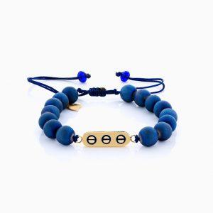 دستبند طلا 18 عیار دخترانه اسپورت ساچمه ای مدل پلاک سه دایره کد BL0130
