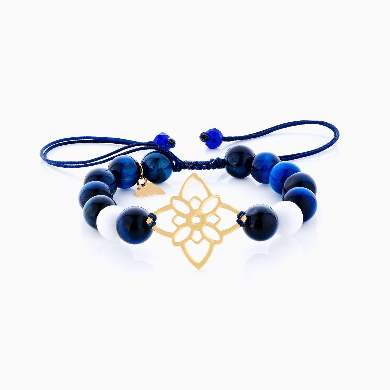 دستبند طلا 18 عیار دخترانه اسپورت ساچمه ای مدل گل کد BL0131