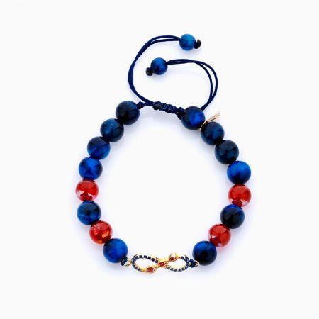 دستبند طلا 18 عیار دخترانه فانتزی ساچمه ای مدل بینهایت کد BL0135