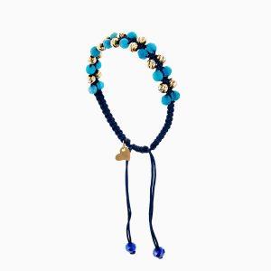 دستبند طلا 18 عیار دخترانه اسپورت مدل گوی و سنگ کد BL0140
