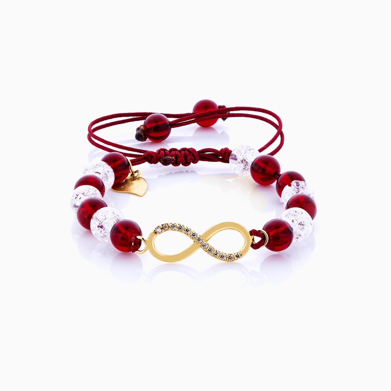 دستبند طلا 18 عیار دخترانه فانتزی ساچمه ای مدل بینهایت کد BL0143