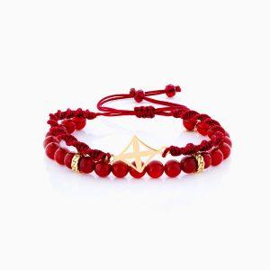 دستبند طلا 18 عیار دخترانه اسپورت ساچمه ای مدل گوی و بافت با حلقه کارتیر کد BL0144