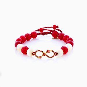 دستبند طلا 18 عیار دخترانه فانتزی ساچمه ای مدل بینهایت کد BL0145