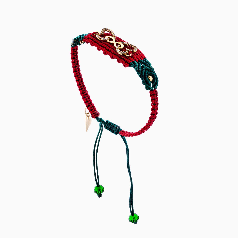 دستبند طلا 18 عیار دخترانه فانتزی مدل قلب و بینهایت کد BL0153