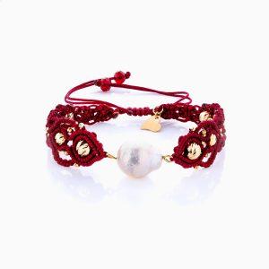 دستبند طلا 18 عیار دخترانه مدل گوی و مروارید کد BL0154