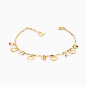 دستبند طلا 18 عیار زنانه زنجیری مدل گوی پلاک ونکلیف کد BL0163