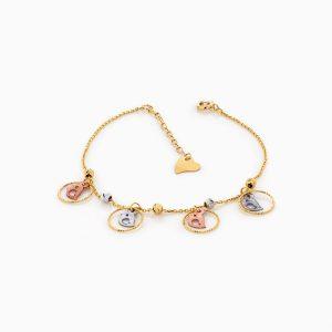 دستبند طلا 18 عیار دخترانه زنجیری مدل گوی و گنجشک کد BL0166